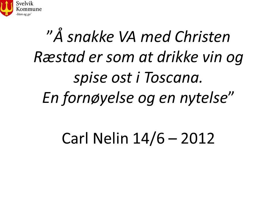 """""""Å snakke VA med Christen Ræstad er som at drikke vin og spise ost i Toscana. En fornøyelse og en nytelse"""" Carl Nelin 14/6 – 2012"""