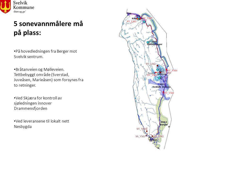 5 sonevannmålere må på plass: På hovedledningen fra Berger mot Svelvik sentrum. Bråtanveien og Mølleveien. Tettbebyggt område (Sverstad, Juveåsen, Mar