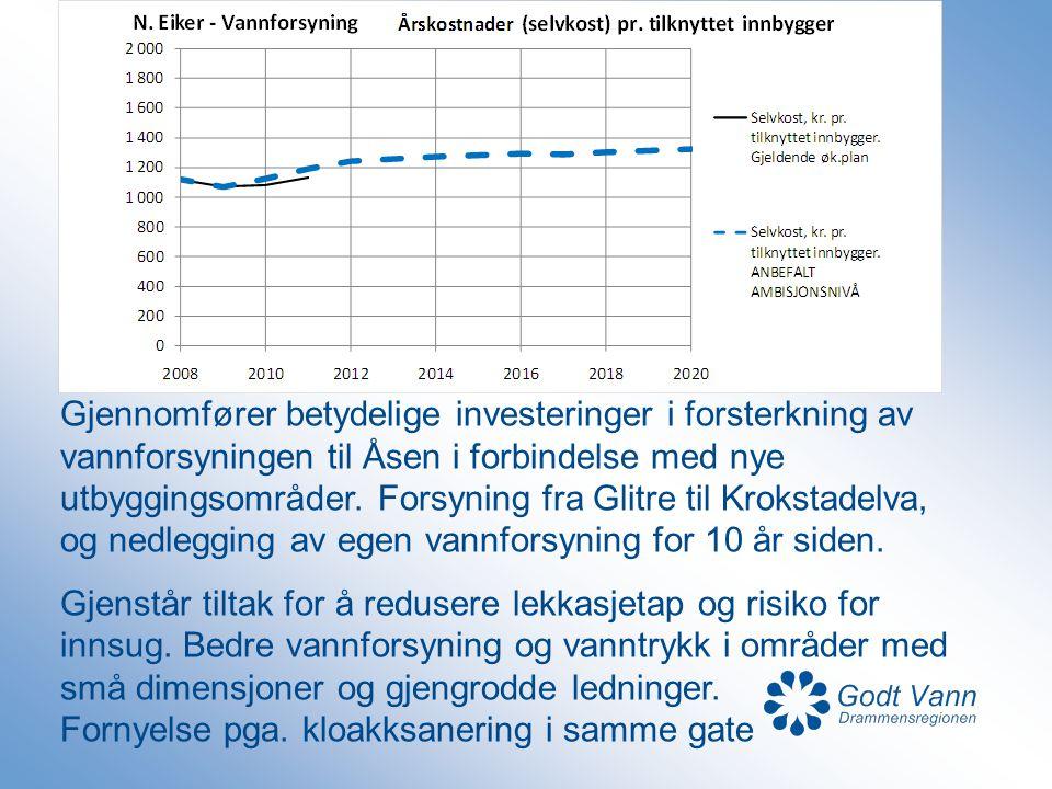 Gjennomfører betydelige investeringer i forsterkning av vannforsyningen til Åsen i forbindelse med nye utbyggingsområder. Forsyning fra Glitre til Kro