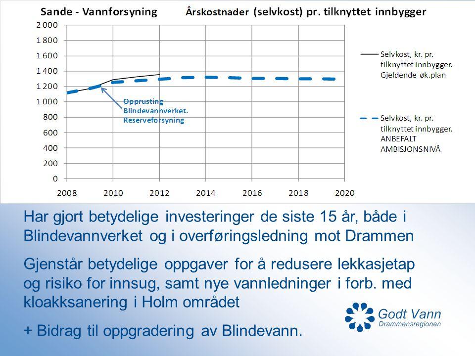 Har gjort betydelige investeringer de siste 15 år, både i Blindevannverket og i overføringsledning mot Drammen Gjenstår betydelige oppgaver for å redu