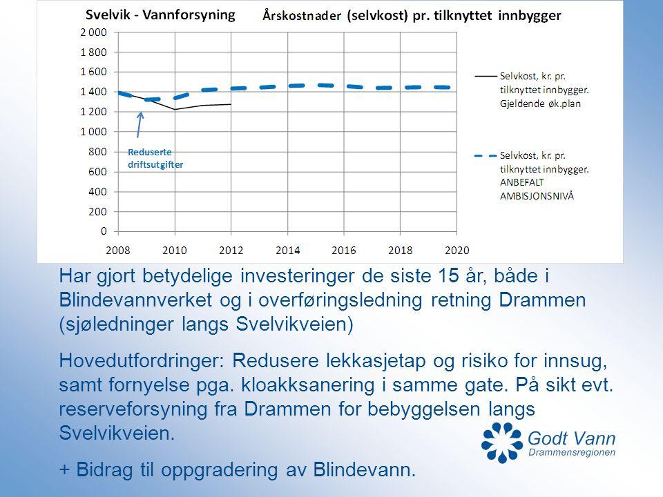 Har gjort betydelige investeringer de siste 15 år, både i Blindevannverket og i overføringsledning retning Drammen (sjøledninger langs Svelvikveien) H