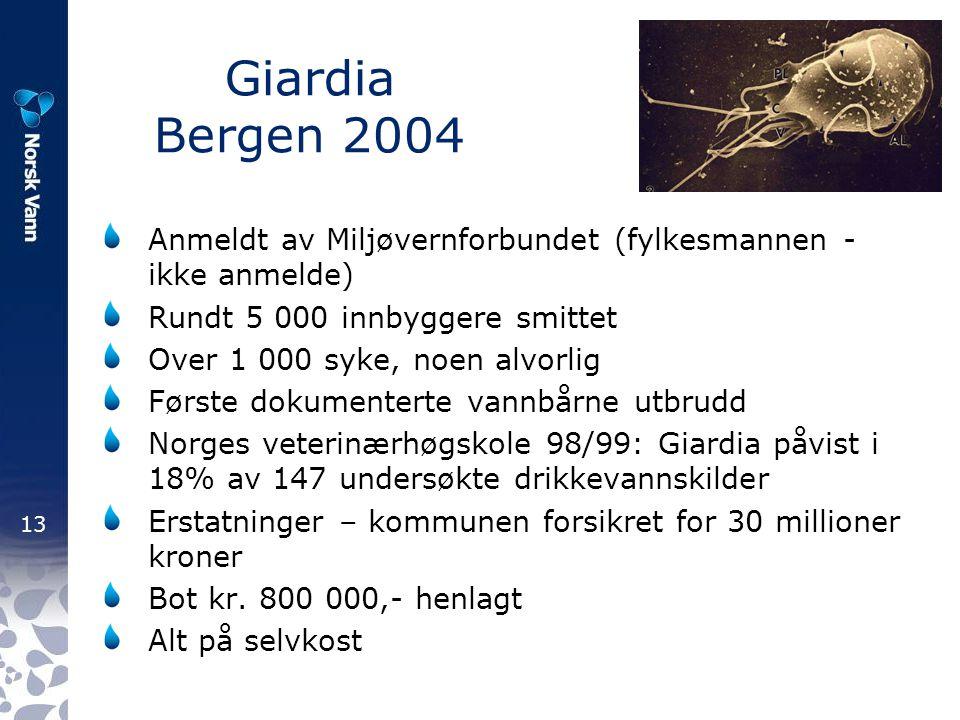 13 Giardia Bergen 2004 Anmeldt av Miljøvernforbundet (fylkesmannen - ikke anmelde) Rundt 5 000 innbyggere smittet Over 1 000 syke, noen alvorlig Først