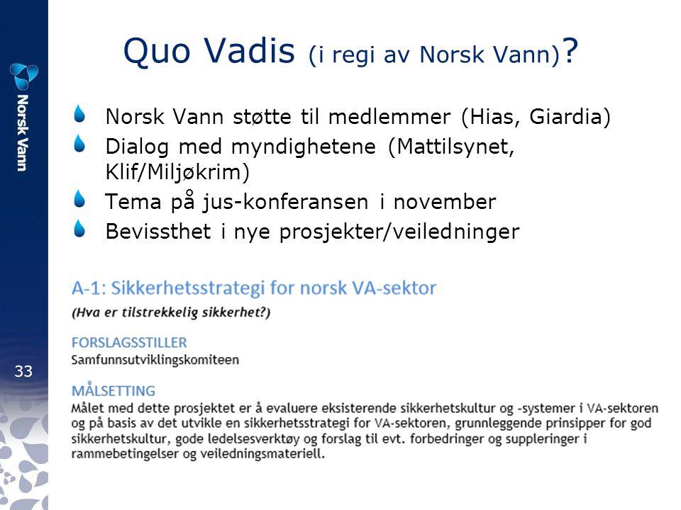 33 Quo Vadis (i regi av Norsk Vann) ? Norsk Vann støtte til medlemmer (Hias, Giardia) Dialog med myndighetene (Mattilsynet, Klif/Miljøkrim) Tema på ju