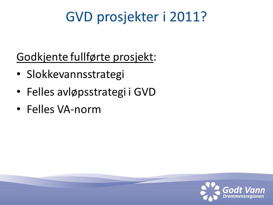 GVD prosjekter i 2011? Godkjente fullførte prosjekt: Slokkevannsstrategi Felles avløpsstrategi i GVD Felles VA-norm