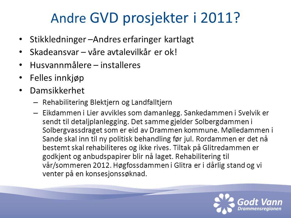 Andre GVD prosjekter i 2011? Stikkledninger –Andres erfaringer kartlagt Skadeansvar – våre avtalevilkår er ok! Husvannmålere – installeres Felles innk
