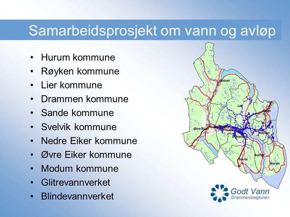Samarbeidsprosjekt om vann og avløp Hurum kommune Røyken kommune Lier kommune Drammen kommune Sande kommune Svelvik kommune Nedre Eiker kommune Øvre E