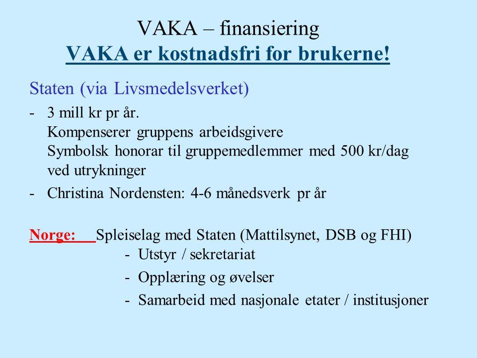 VAKA – finansiering VAKA er kostnadsfri for brukerne! Staten (via Livsmedelsverket) -3 mill kr pr år. Kompenserer gruppens arbeidsgivere Symbolsk hono