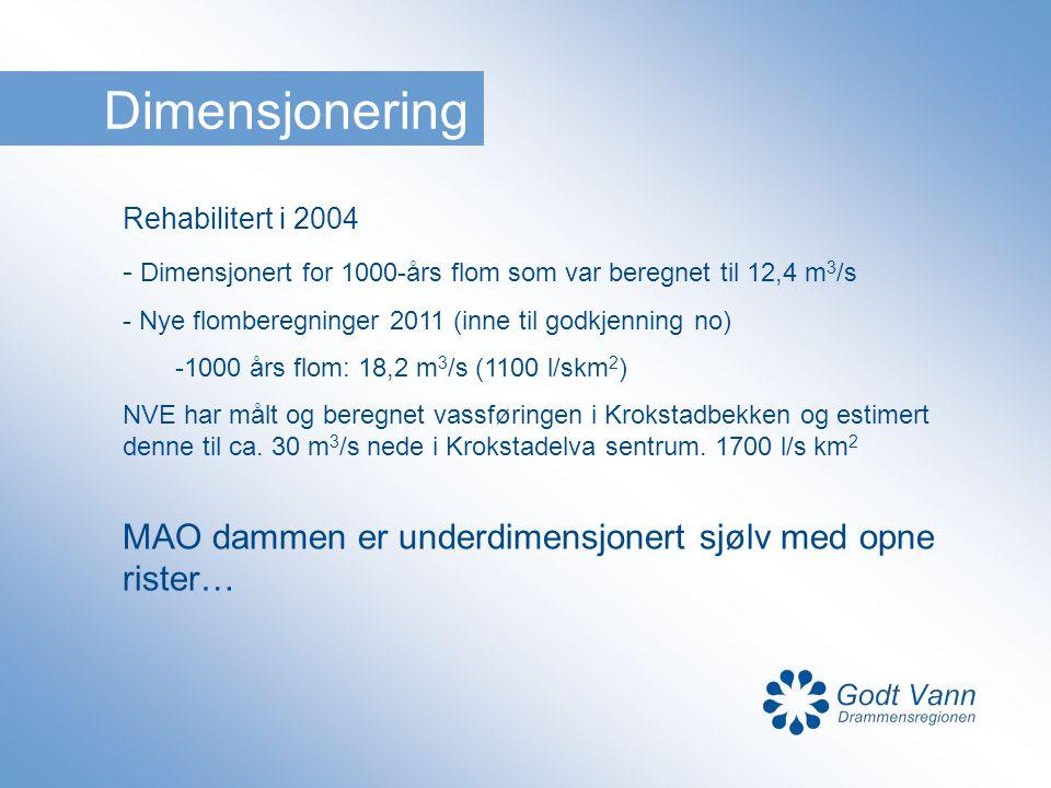 Dimensjonering Rehabilitert i 2004 - Dimensjonert for 1000-års flom som var beregnet til 12,4 m 3 /s - Nye flomberegninger 2011 (inne til godkjenning