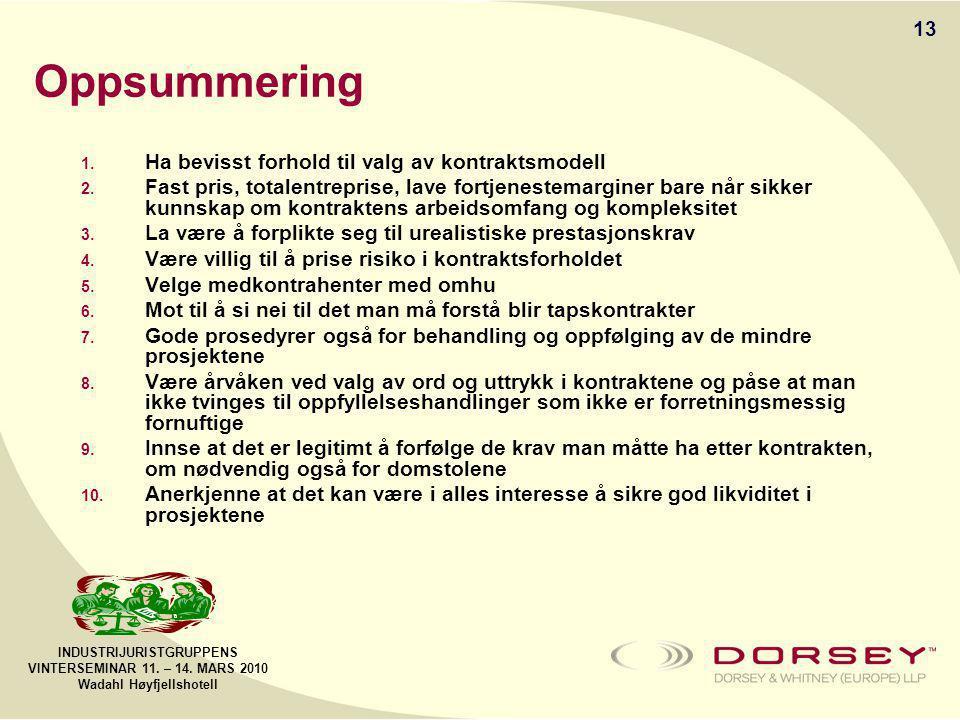 INDUSTRIJURISTGRUPPENS VINTERSEMINAR 11. – 14. MARS 2010 Wadahl Høyfjellshotell Oppsummering 1.