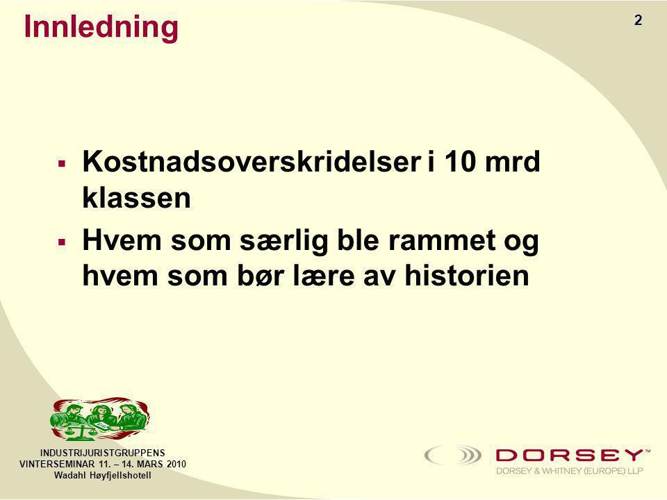 INDUSTRIJURISTGRUPPENS VINTERSEMINAR 11.– 14. MARS 2010 Wadahl Høyfjellshotell Oppsummering 1.