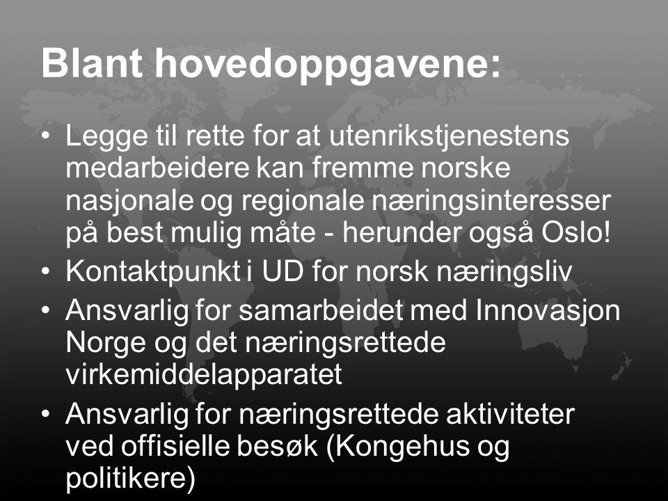 Blant hovedoppgavene: Legge til rette for at utenrikstjenestens medarbeidere kan fremme norske nasjonale og regionale næringsinteresser på best mulig