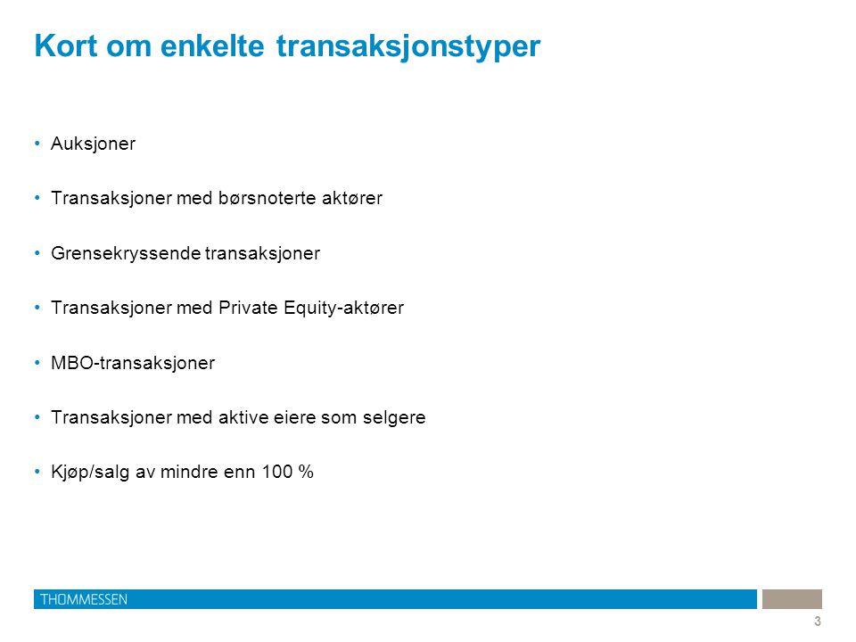 Kort om enkelte transaksjonstyper 3 Auksjoner Transaksjoner med børsnoterte aktører Grensekryssende transaksjoner Transaksjoner med Private Equity-akt