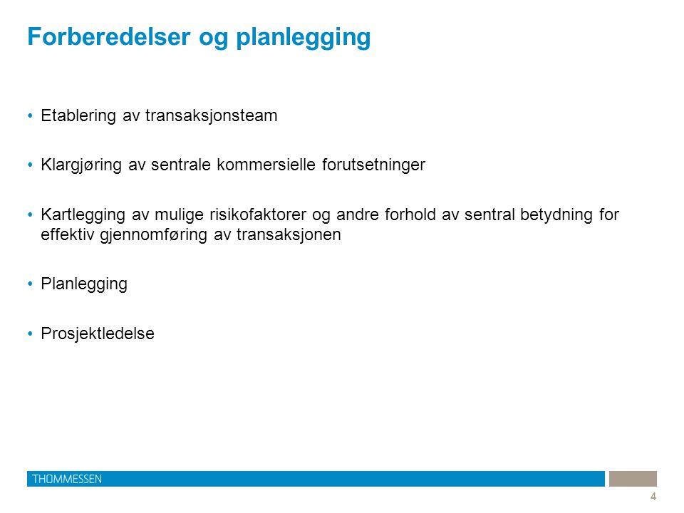 Forberedelser og planlegging 4 Etablering av transaksjonsteam Klargjøring av sentrale kommersielle forutsetninger Kartlegging av mulige risikofaktorer