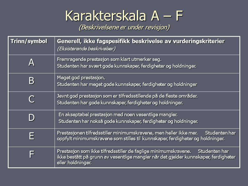 Karakterskala A – F (Beskrivelsene er under revisjon) Trinn/symbol Generell, ikke fagspesifikk beskrivelse av vurderingskriterier (Eksisterende beskrivelser) A Fremragende prestasjon som klart utmerker seg.