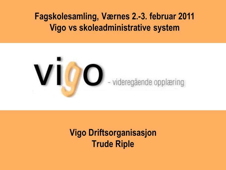 Vigo Driftsorganisasjon Trude Riple Fagskolesamling, Værnes 2.-3. februar 2011 Vigo vs skoleadministrative system