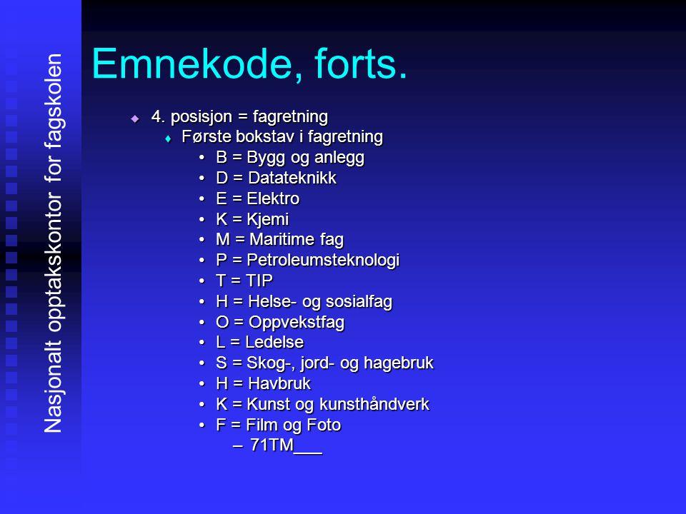 Emnekode, forts. 4444. posisjon = fagretning FFFFørste bokstav i fagretning B = Bygg og anlegg D = Datateknikk E = Elektro K = Kjemi M = Marit