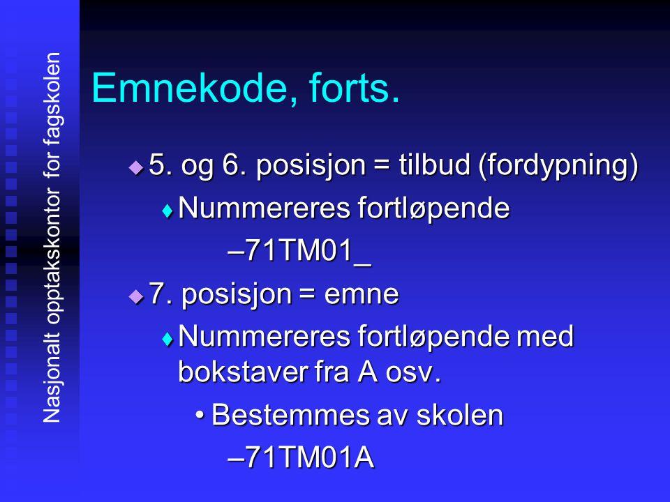 Emnekode, forts. 5555. og 6. posisjon = tilbud (fordypning) NNNNummereres fortløpende –7–7–7–71TM01_ 7777. posisjon = emne NNNNummerer