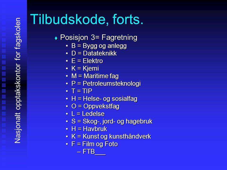 Tilbudskode, forts. PPPPosisjon 3= Fagretning B = Bygg og anlegg D = Datateknikk E = Elektro K = Kjemi M = Maritime fag P = Petroleumsteknologi T