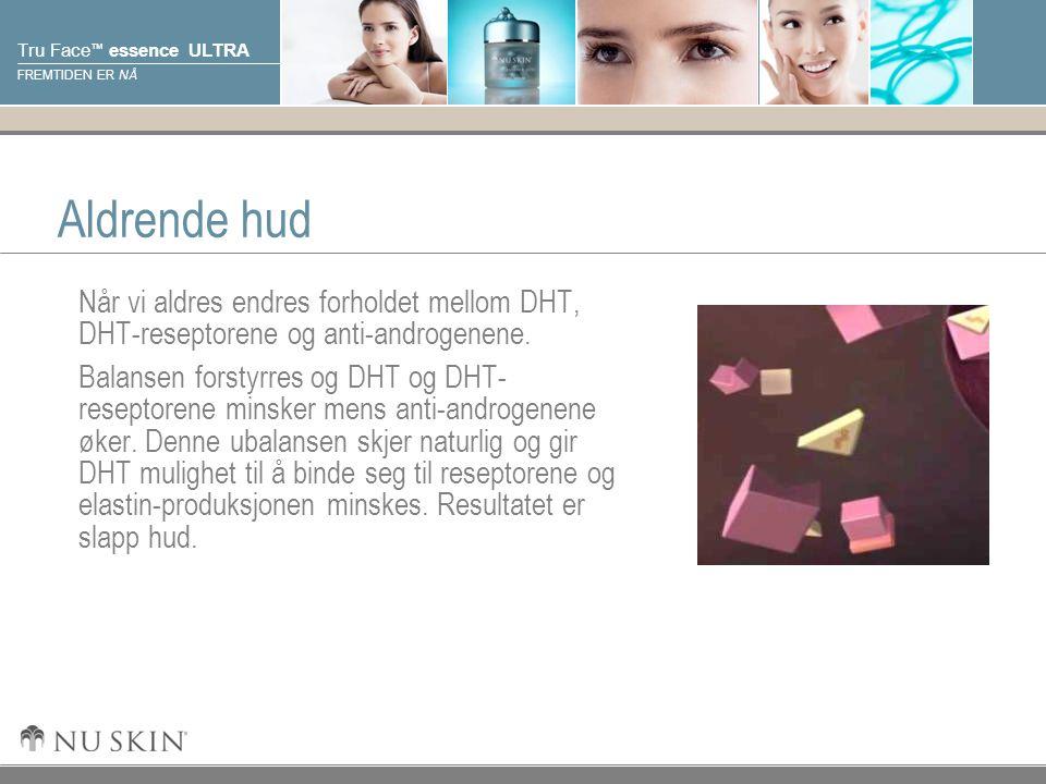 © 2001 Nu Skin International, Inc Tru Face ™ essence ULTRA FREMTIDEN ER NÅ Aldrende hud Når vi aldres endres forholdet mellom DHT, DHT-reseptorene og anti-androgenene.
