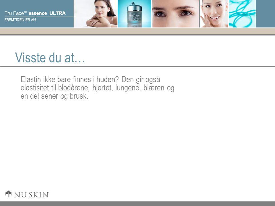 © 2001 Nu Skin International, Inc Tru Face ™ essence ULTRA FREMTIDEN ER NÅ Visste du at… Elastin ikke bare finnes i huden? Den gir også elastisitet ti