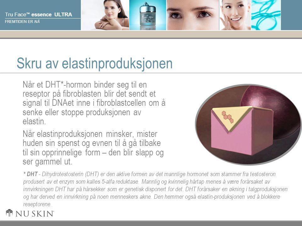 © 2001 Nu Skin International, Inc Tru Face ™ essence ULTRA FREMTIDEN ER NÅ Skru av elastinproduksjonen Når et DHT*-hormon binder seg til en reseptor på fibroblasten blir det sendt et signal til DNAet inne i fibroblastcellen om å senke eller stoppe produksjonen av elastin.