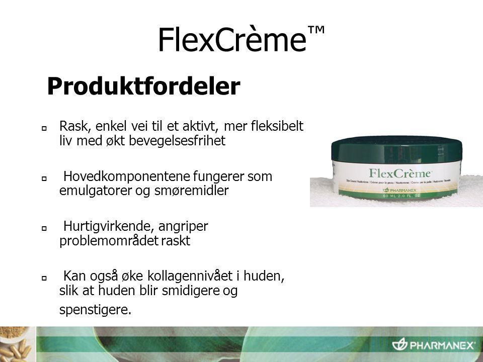  Merkevarebeskyttet cetylesterkompleks  Virkestoff: Topisk mentol 1,25 %  Lett å påføre  Absorberes raskt av huden  Ikke fettholdig FlexCrème ™ Produktegenskaper