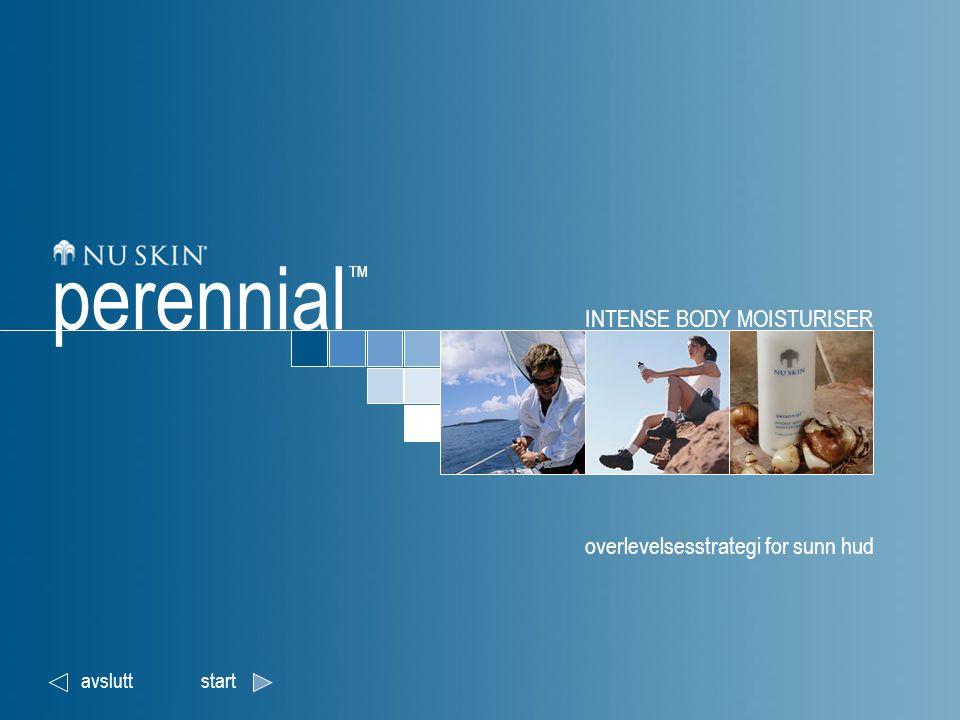 INTENSE BODY MOISTURISER Vi introduserer Perennial ™ Naturlig beskyttelse IBR-Dormin ™ tilbakeneste Overlevelsesstrategi perennial ™ Dette dokumentet er til bruk for ansatte hos Nu Skin Enterprises Europe og uavhengige distributører.