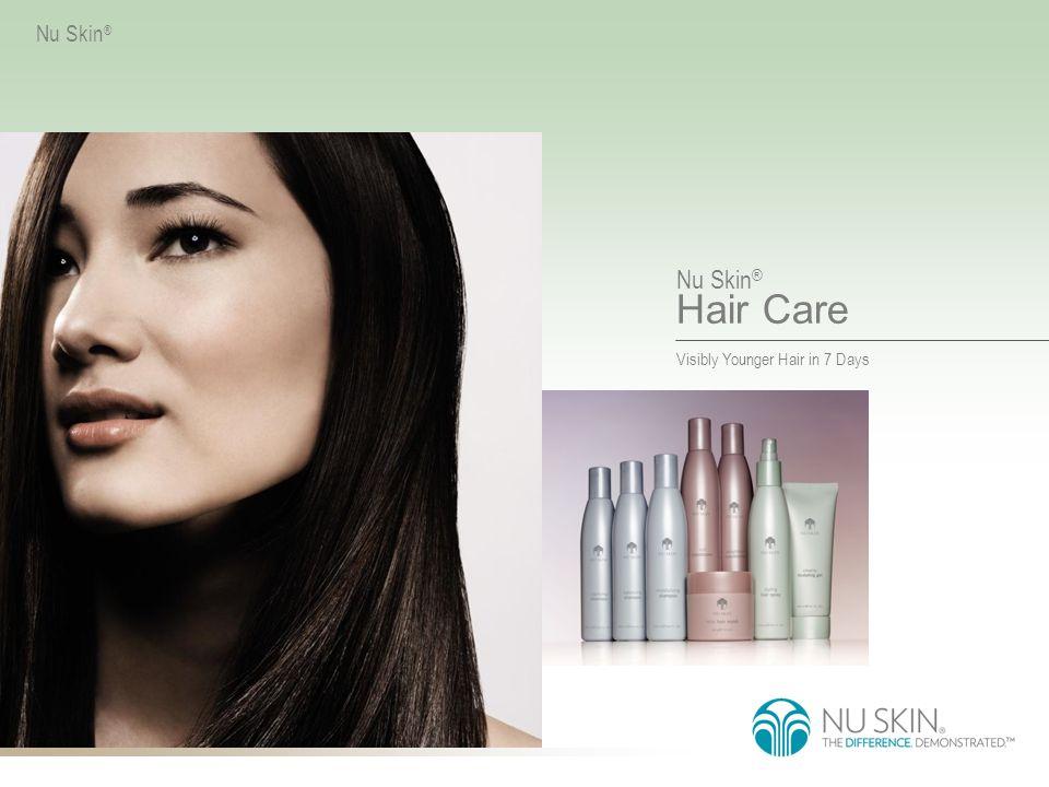 Nu Skin ® Hair Care VISIBLY YOUNGER HAIR IN 7 DAYS Nu Skin ® Nu Skin ® Hair Care Dette vitenskapelige avanserte tre- stegssystemet gjenoppretter styrken i hårbarken, reparerer hårskaftet og beskytter kutikulaen så håret får tilbake sin ungdommelige glans.