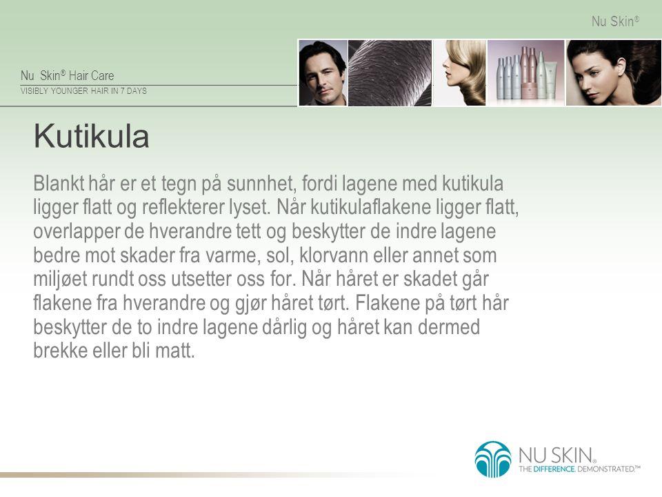 Nu Skin ® Hair Care VISIBLY YOUNGER HAIR IN 7 DAYS Nu Skin ® Kutikula Blankt hår er et tegn på sunnhet, fordi lagene med kutikula ligger flatt og reflekterer lyset.
