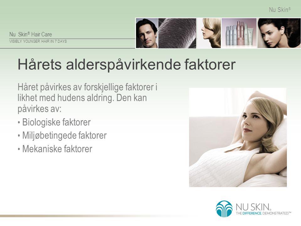 Nu Skin ® Hair Care VISIBLY YOUNGER HAIR IN 7 DAYS Nu Skin ® Hårets alderspåvirkende faktorer Håret påvirkes av forskjellige faktorer i likhet med hudens aldring.