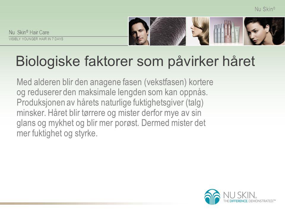 Nu Skin ® Hair Care VISIBLY YOUNGER HAIR IN 7 DAYS Nu Skin ® Biologiske faktorer som påvirker håret Med alderen blir den anagene fasen (vekstfasen) ko