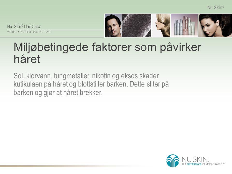 Nu Skin ® Hair Care VISIBLY YOUNGER HAIR IN 7 DAYS Nu Skin ® Miljøbetingede faktorer som påvirker håret Sol, klorvann, tungmetaller, nikotin og eksos