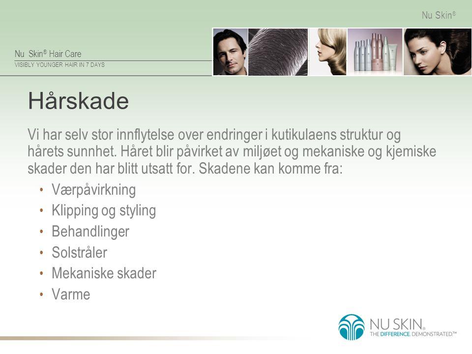 Nu Skin ® Hair Care VISIBLY YOUNGER HAIR IN 7 DAYS Nu Skin ® Hårskade Vi har selv stor innflytelse over endringer i kutikulaens struktur og hårets sun