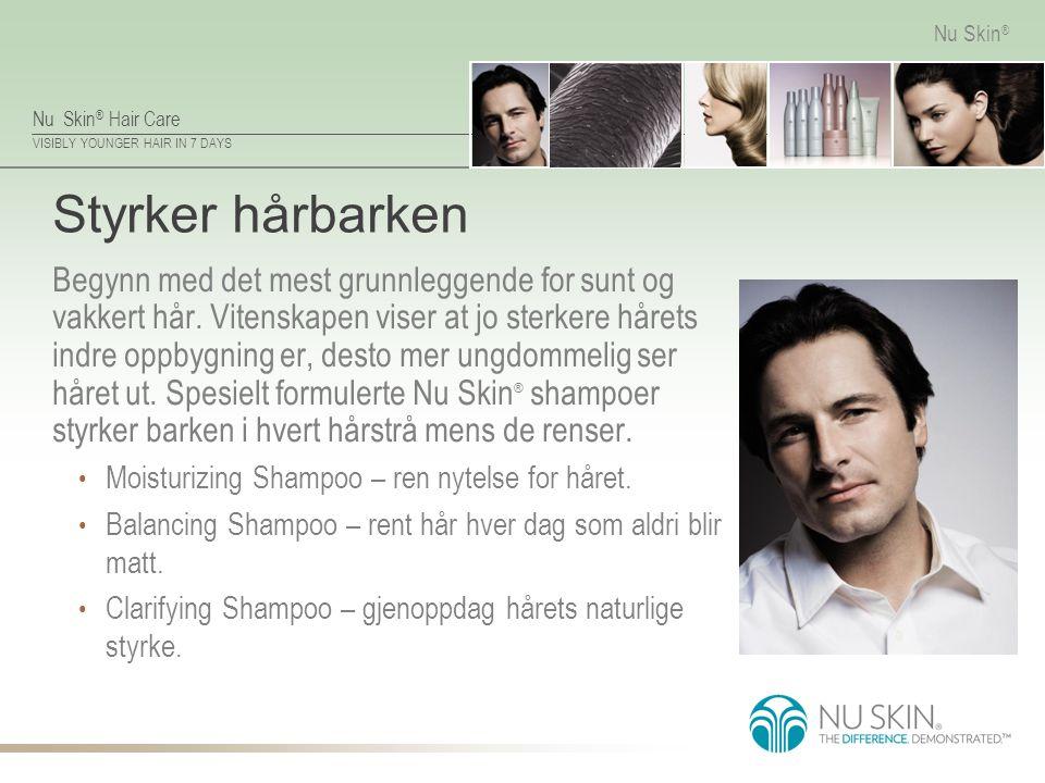Nu Skin ® Hair Care VISIBLY YOUNGER HAIR IN 7 DAYS Nu Skin ® Styrker hårbarken Begynn med det mest grunnleggende for sunt og vakkert hår. Vitenskapen