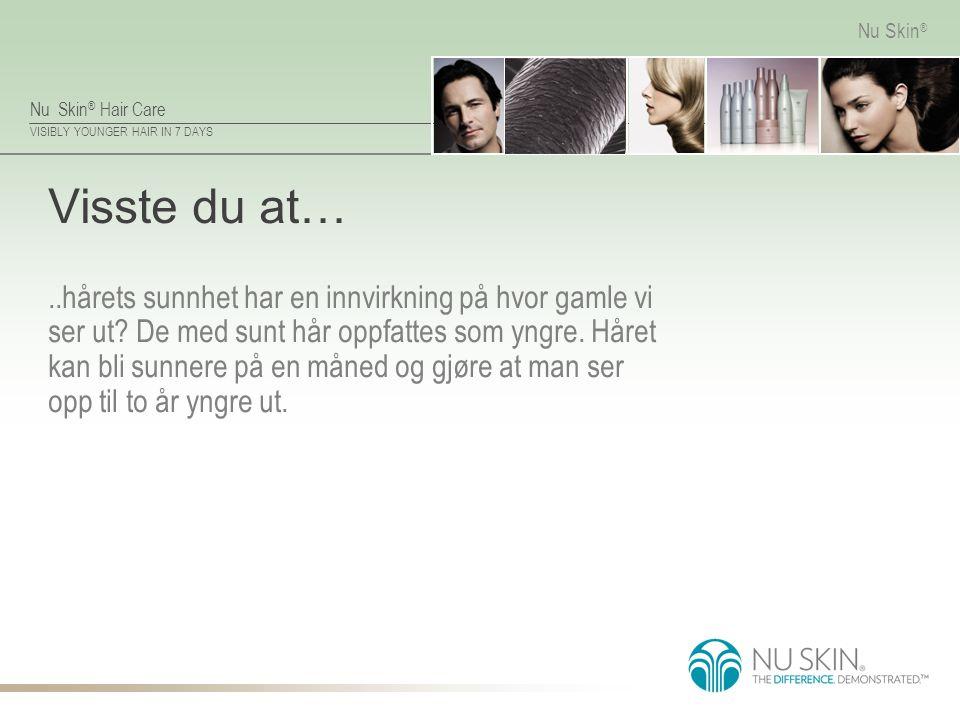 Nu Skin ® Hair Care VISIBLY YOUNGER HAIR IN 7 DAYS Nu Skin ® Anvendelse