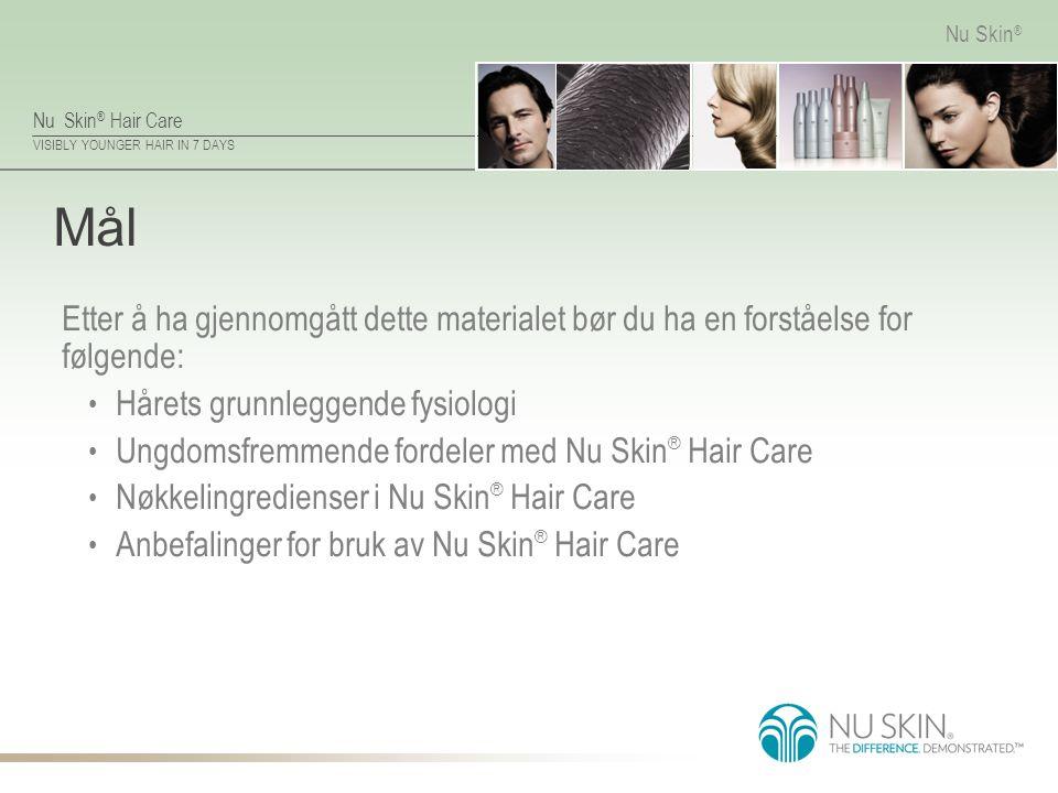 Nu Skin ® Hair Care VISIBLY YOUNGER HAIR IN 7 DAYS Nu Skin ® Mål Etter å ha gjennomgått dette materialet bør du ha en forståelse for følgende: Hårets