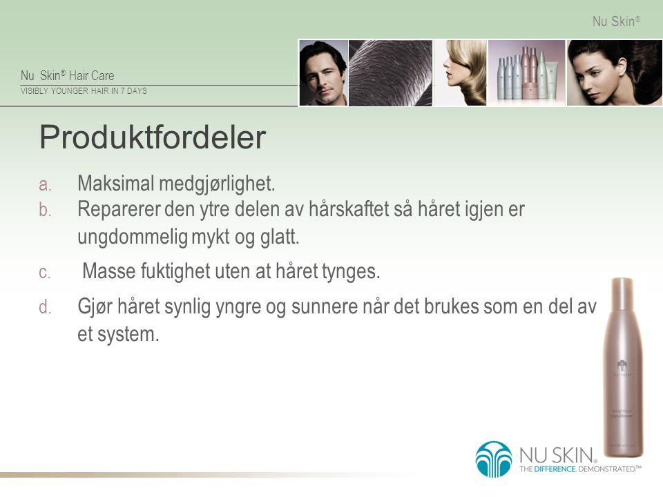 Nu Skin ® Hair Care VISIBLY YOUNGER HAIR IN 7 DAYS Nu Skin ® Produktfordeler a. Maksimal medgjørlighet. b. Reparerer den ytre delen av hårskaftet så h