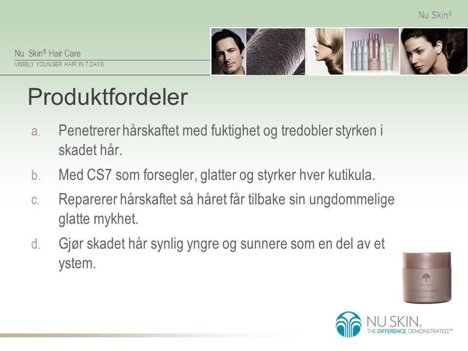 Nu Skin ® Hair Care VISIBLY YOUNGER HAIR IN 7 DAYS Nu Skin ® Produktfordeler a. Penetrerer hårskaftet med fuktighet og tredobler styrken i skadet hår.