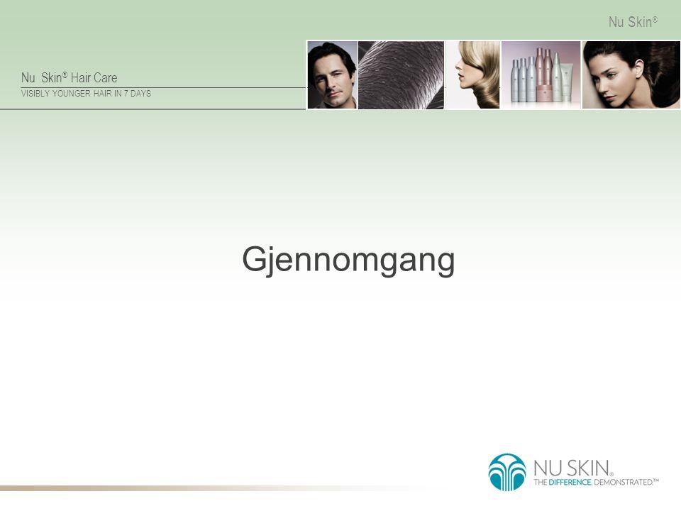 Nu Skin ® Hair Care VISIBLY YOUNGER HAIR IN 7 DAYS Nu Skin ® Formulert for synergi Nu Skin ® shampoer fungerer best sammen med sine respektive balsamer.