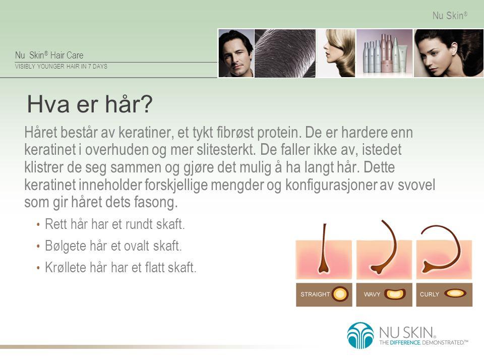 Nu Skin ® Hair Care VISIBLY YOUNGER HAIR IN 7 DAYS Nu Skin ® Hva er hår? Håret består av keratiner, et tykt fibrøst protein. De er hardere enn keratin