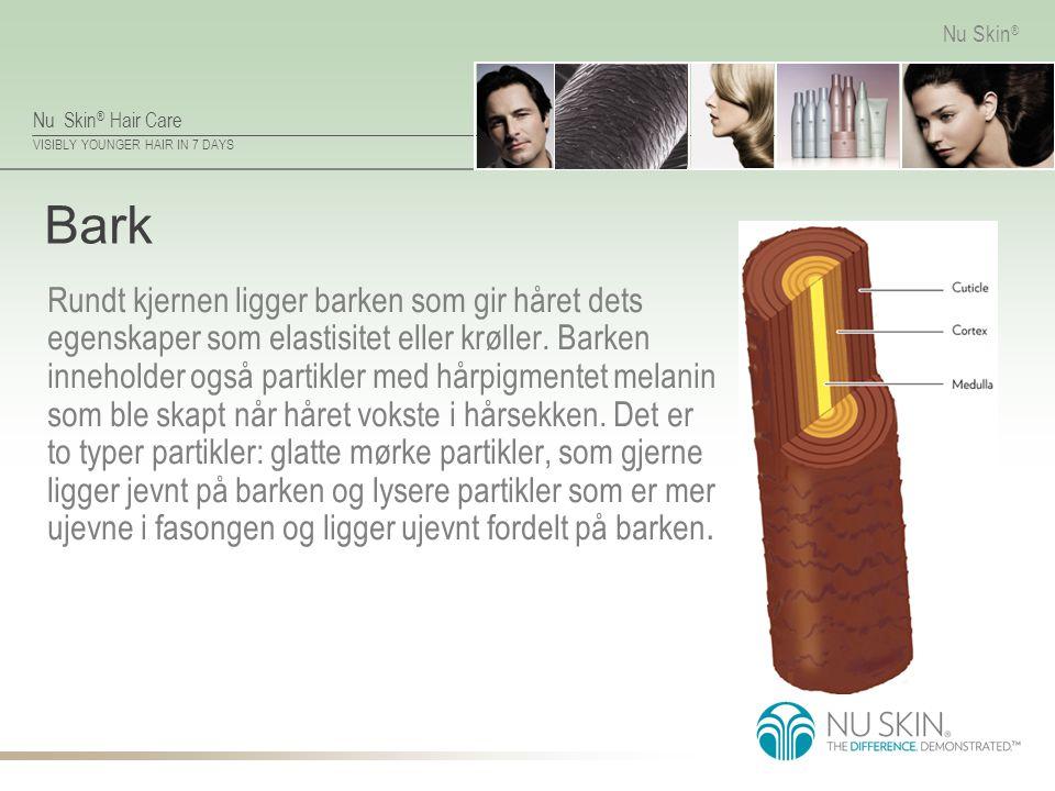 Nu Skin ® Hair Care VISIBLY YOUNGER HAIR IN 7 DAYS Nu Skin ® Bark Rundt kjernen ligger barken som gir håret dets egenskaper som elastisitet eller krøller.
