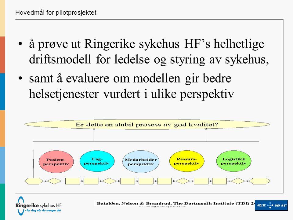 Hovedmål for pilotprosjektet å prøve ut Ringerike sykehus HF's helhetlige driftsmodell for ledelse og styring av sykehus, samt å evaluere om modellen gir bedre helsetjenester vurdert i ulike perspektiv