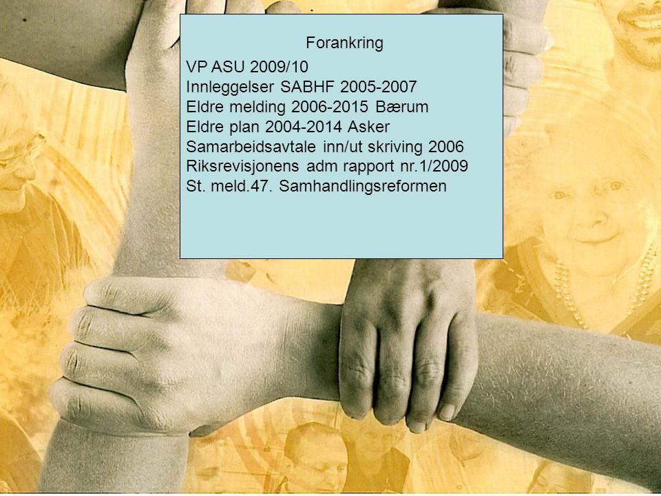 VP ASU 2009/10 Innleggelser SABHF 2005-2007 Eldre melding 2006-2015 Bærum Eldre plan 2004-2014 Asker Samarbeidsavtale inn/ut skriving 2006 Riksrevisjo