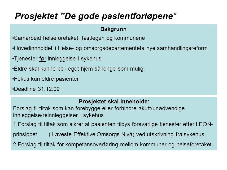 Prosjektet skal inneholde: Forslag til tiltak som kan forebygge eller forhindre akutt/unødvendige innleggelse/reinnleggelser i sykehus 1.Forslag til t