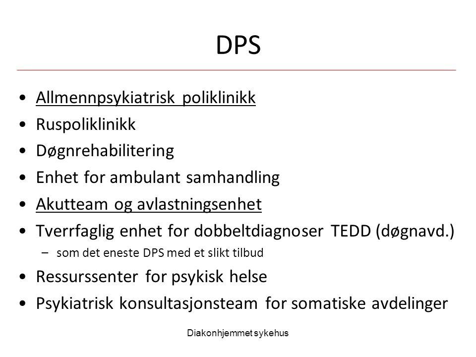 Diakonhjemmet sykehus DPS Allmennpsykiatrisk poliklinikk Ruspoliklinikk Døgnrehabilitering Enhet for ambulant samhandling Akutteam og avlastningsenhet