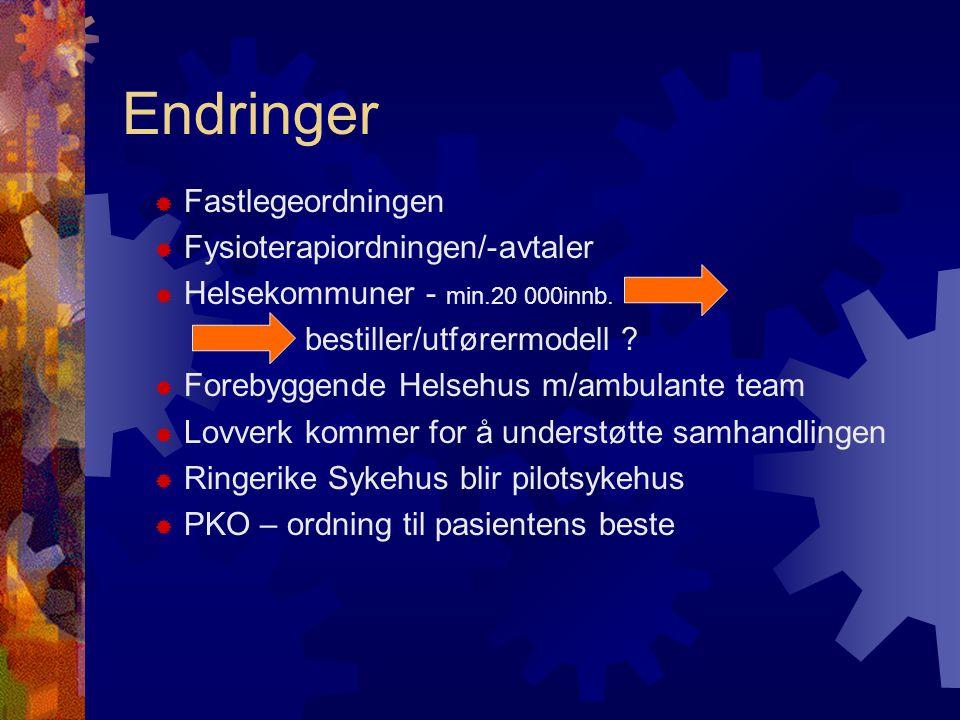 Endringer  Fastlegeordningen  Fysioterapiordningen/-avtaler  Helsekommuner - min.20 000innb.