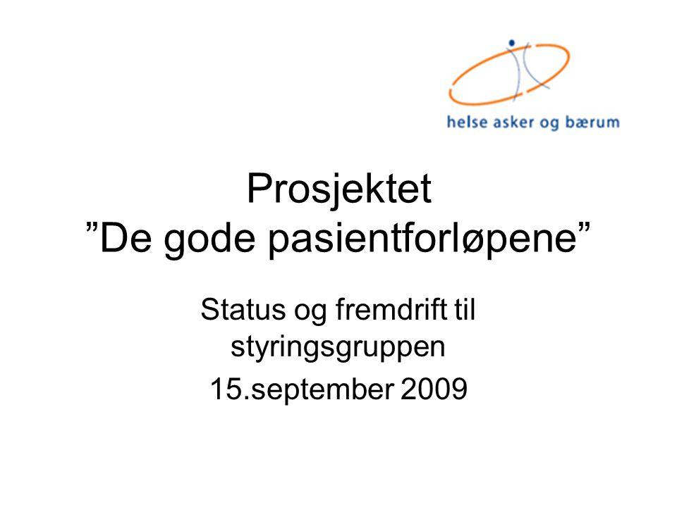 """Prosjektet """"De gode pasientforløpene"""" Status og fremdrift til styringsgruppen 15.september 2009"""
