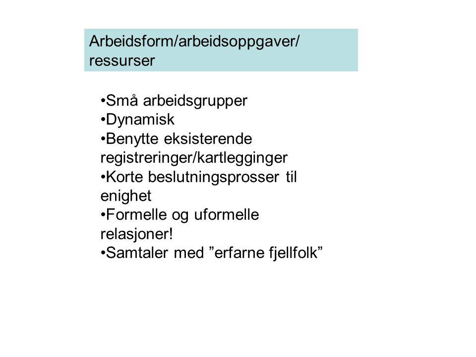 Arbeidsform/arbeidsoppgaver/ ressurser Små arbeidsgrupper Dynamisk Benytte eksisterende registreringer/kartlegginger Korte beslutningsprosser til enig