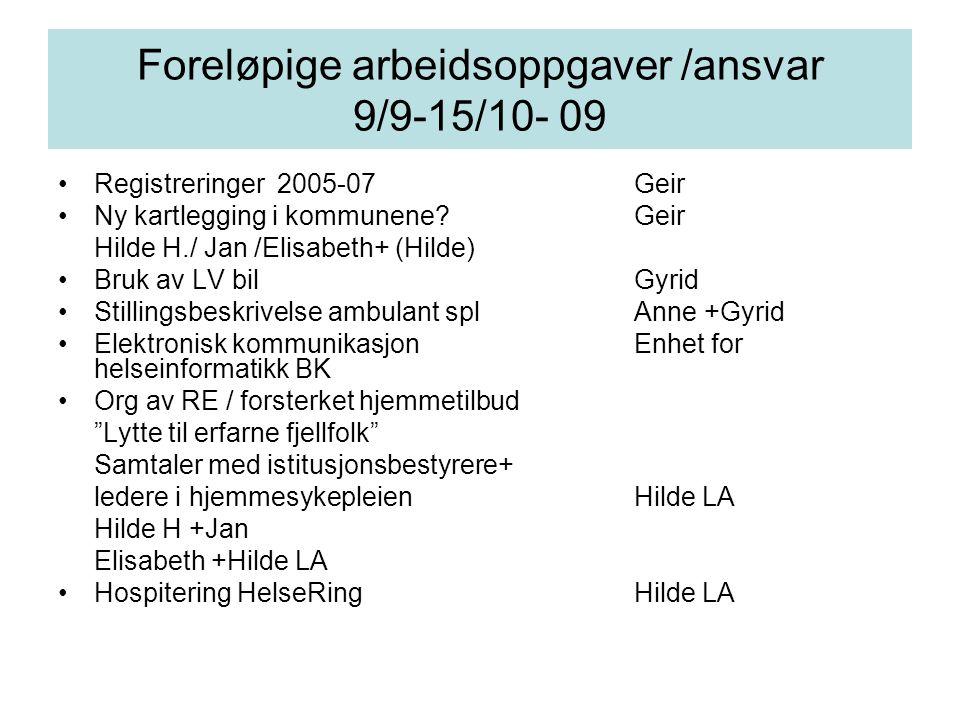 Foreløpige arbeidsoppgaver /ansvar 9/9-15/10- 09 Registreringer 2005-07Geir Ny kartlegging i kommunene?Geir Hilde H./ Jan /Elisabeth+ (Hilde) Bruk av