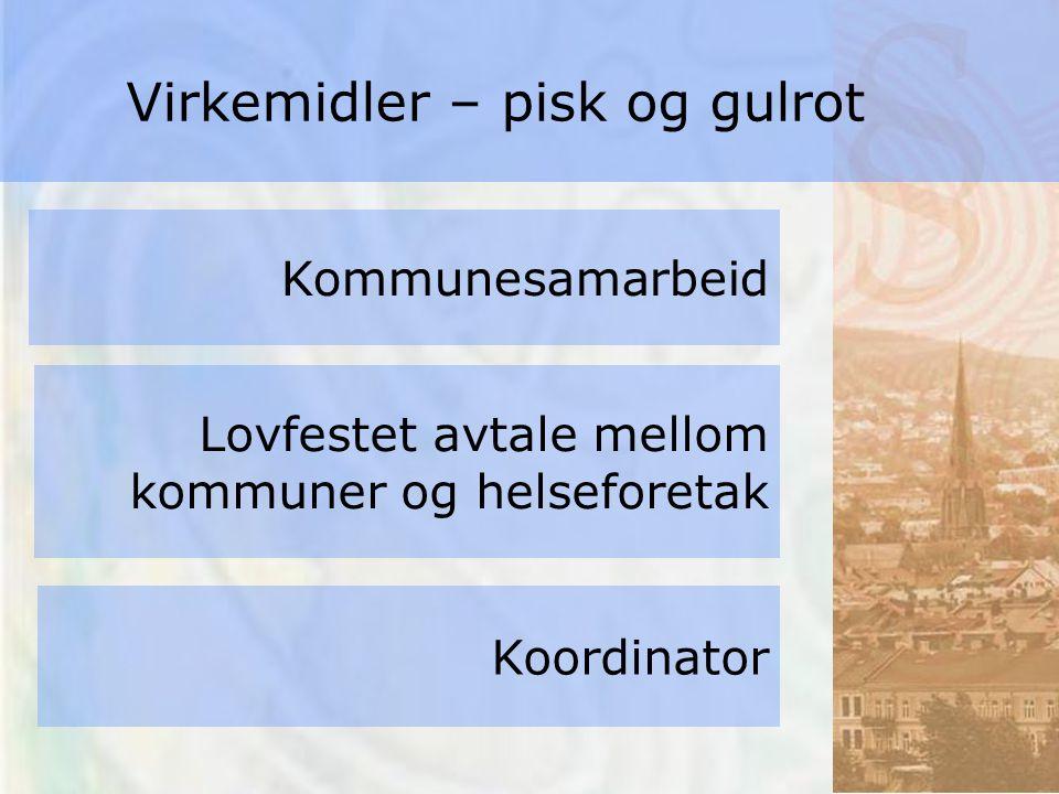 Kommunesamarbeid Lovfestet avtale mellom kommuner og helseforetak Koordinator Virkemidler – pisk og gulrot
